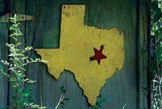 Junkyard Beauty - Texas Recycled Metal Sign - From Antiquefarmhouse.com - http://www.antiquefarmhouse.com/past/recycled-upcycled-junk/junkyard-beauty-texas-metal-sign.html
