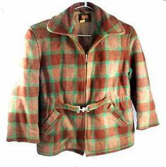 Vintage Big Boys Wool Coat Plaid Woolrich PA Jacket 1940S Buckle Front