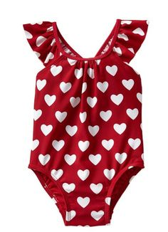 Gap Printed Flutter One Piece - heart print Outfits Niños, Kids Outfits, My Little Girl, Little Princess, Baby Girl Fashion, Kids Fashion, Pullover Shirt, Swimsuits, Swimwear