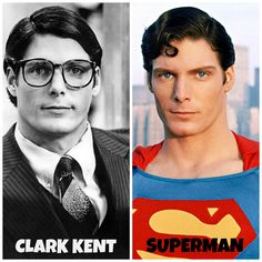 Christopher Reeve as Superman and Clark Kent.