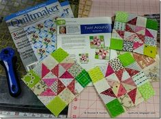 Giveaway! Quiltmaker's March/April issue debuts today, and Bonnie Hunter is giving away three copies on her quiltville.com blog. Her Addicted to Scraps block called Twirl Around is in this issue. The pink and green beckons the arrival of spring!