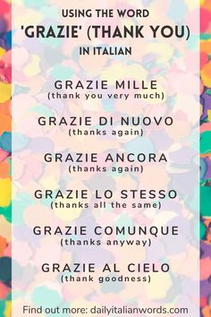 Using the Word 'Grazie' (thank you) in Italian