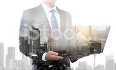 Double exposure of businessman using laptop computer royalty-free stock photo