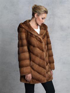 Dyed Whiskey Mink Hooded Jacket #stylish #coat #fur #outwear at Flemington Furs - available online at FlemingtonFurs.com