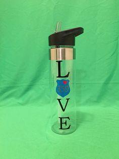 Custom water bottle, law enforcement water bottle, personalized police water bottle, custom badge number water bottle, clear water bottle by IdahoEmbroidery on Etsy