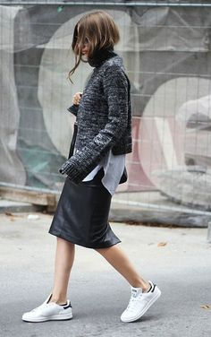 fall layers white sneakers addias sneakers stan smiths black leather midi skirt pencil skirt sweater over shirt striped oxford shirt button up shirt grey sweater black scarf fall layers fall work outfit via fashion and style Fashion Foto, Image Fashion, Look Fashion, Net Fashion, Luxury Fashion, Fashion 2016, Fall Fashion, Womens Fashion, Looks Street Style