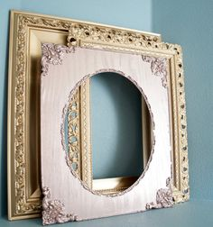 Set of 3 Vintage Metallic Rose Gold & Gold Large Empty Frames- wedding decor, baby shower, photo booth props, ornate, oval frame, wall art