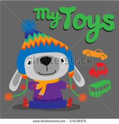 Cute Dog playing with his toys. Vector illustration by graphic7, via Shutterstock
