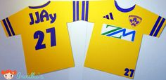 Soccer T-shirt birthday card, inspired by colors of NK Maribor