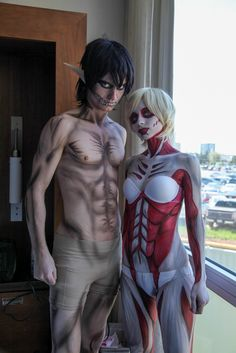 Eren Jaeger Titan and Annie Titan cosplay from Attack on Titan at Anime North 2014. Body makeup by Artisticurves.