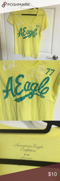 AMERICAN EAGEL TSHIRT ✅used a handful of time✅great condition✅yellow✅medium✅AE American Eagle Outfitters Tops Tees - Short Sleeve
