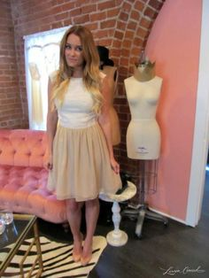 lauren conrad wearing a paper crown dress