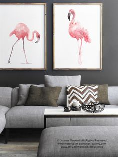 Flamingo Watercolor Painting, Set of 2 Birds, Pink Abstract Art Print, Flamingos Nursery Room Decor by ColorWatercolor on Etsy https://www.etsy.com/listing/242643920/flamingo-watercolor-painting-set-of-2