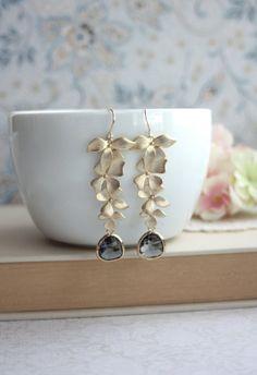 Hochzeit Ohrringe. Grau schwarz-Diamant-Ohrringe von Marolsha