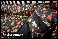 CUSTOM punk baby 4 piece crib bedding set fabric skull and crossbones guitar girl boy unisex with minky back