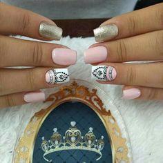 Pin on uñas Lace Nails, Pink Nails, New Nail Art Design, Nail Designs, Nail Art Stripes, Nail Candy, Pin On, Instagram Nails, Dream Nails