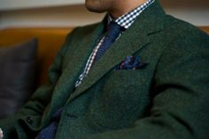A bit tweedy but green and navy is a bare masculine look, ennit?