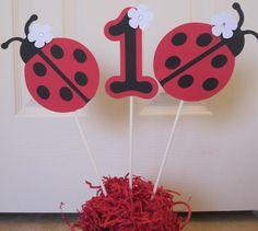 3 Ladybug Birthday Party Centerpiece Sticks by SwatiCreations, $10.00