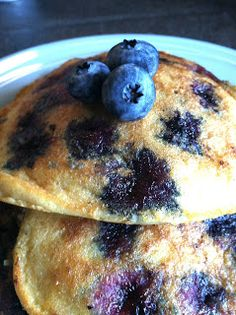 Paleo Blueberry pancakes!!!! Serve with pure maple syrup. Paleo has a healthier alternative to every processed and toxic indulgence