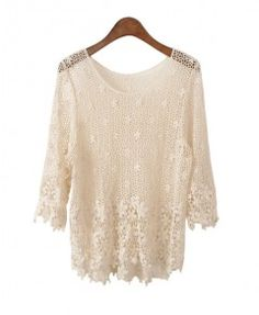 Retro Crochet Lace Jumpers with Flower Details