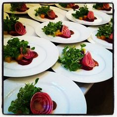 What a pretty beet salad! Who wouldn't love such a colorful first course?  by Blue Plate Catering in Chicago