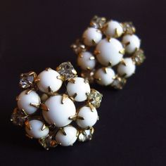 #Retro #Cluster #Earrings Clear Rhinestone White Milk Glass Cabochons