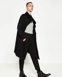 Image 1 of DARK CROPPED TROUSERS from Zara