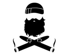 Beard & Crossed Cigars Vinyl Sticker is available in several different colors.
