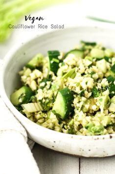 Full of fresh flavors and nourishing ingredients, this vegan green cauliflower rice salad is a perfect accompaniment to any meal