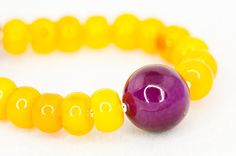 Agat beaded chunky necklace / Summer Yellow agate and by DevikaBox, $42.00