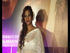 Tanisha Singh in WHITE TRANSPARENT SAREE at DEDH ISHQIYA premier.