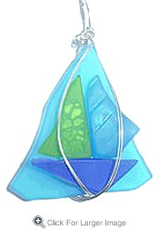 Sailboat Sea Glass Necklace - turquoise - Click to enlarge
