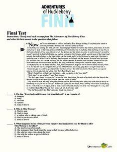 Huckleberry finn vocabulary list