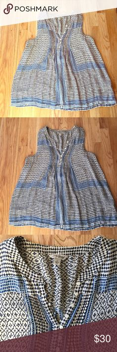 Lucky brand tank top Lucky brand tank with button front! So cute and easy to layer. Easy care!! Generous large Lucky Brand Tops Tank Tops