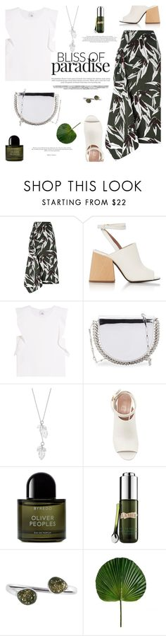 """Tropical Leaf"" by little-curly-juli ❤ liked on Polyvore featuring Marni, Iris & Ink, Paco Rabanne, Byredo, La Mer, Be-Jewelled, white, Silver and leafprint"