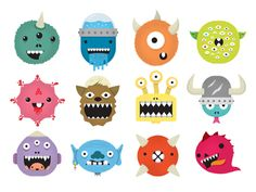 Dribbble - Monster Faces by Greg Christman Mini Monster, Monster Face, Monster Board, Logo Face, Kids Icon, Rustic Art, Cute Monsters, Iconic Characters, Work Inspiration