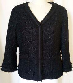Talbots Blazer Jacket sz 10 - black glitter #Talbots #Jacket