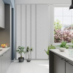 Tranquility Owl blockout panel glide blinds are perfect has a gorgeous, woven texture that is gentle Blinds For Large Windows, Blinds For Windows Living Rooms, Modern Windows, Modern Window Coverings, Grey Blinds, Modern Blinds, Curtains With Blinds, Wide Curtains, Panel Curtains