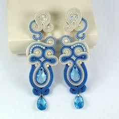 Soutache earrings and bracelet with Swarovski por StylowaSoutache