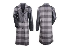 Wool trench coat, faux leather and fur used as a combo fabric