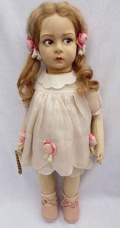 "Vintage Antique Circa 1920's 18"" Felt Lenci Girl Doll Italy All Original EXC   eBay"