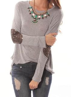 Gray Tunic - Sequined Elbow Patch Hi-Lo Tunic