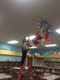 Our amazingly artistic Teacher Librarian at Kirkwood Elementary created this dragon in preparation for the visit from Grace Lin! ICCSD
