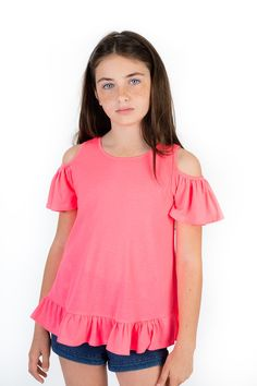Kids Butterfly Sleeve Cold Shoulder Ruffle Top