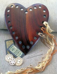 wooden heart embroidery thread keeper from Stitching Cow