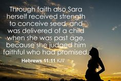 Hebrews 11:11 KJV Through faith also Sara herself received strength to conceive seed, and was delivered of a child when she was past age, because she judged him faithful who had promised. #Dailybibleverse