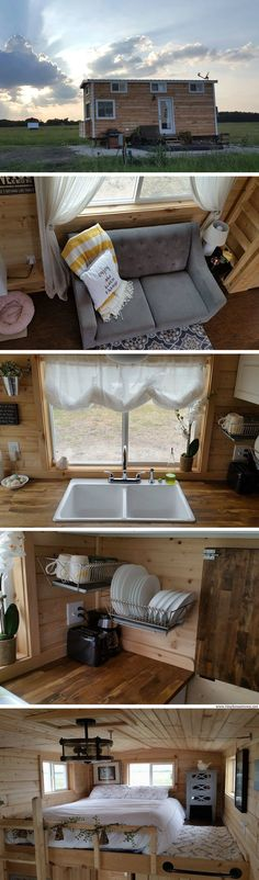 A tiny house in Texas. The 340 sq ft home was featured on HGTV's Tiny House Hunters and is now available for sale!
