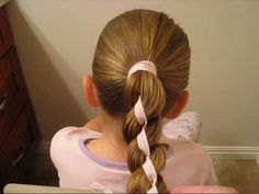 Video --How to do a 4 strand braid with a ribbon down the middle.