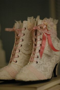 shoes boots heels lace wedding wedding shoes lace ups pink pretty pink and white beautiful Accessories marie antoinette rococo historical cosplay costume dressing up fashion old fashioned rococo shoes unique one of a kind outfit beauty Cute Shoes, Me Too Shoes, Unique Shoes, Pretty Shoes, Victorian Fashion, Vintage Fashion, Victorian Shoes, Victorian Bedroom, Victorian Lace