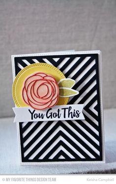 Scribble Roses stamp set and Die-namics, Scribble Roses Overlay Die-namics, Encouraging Words, Double Stitched Circle STAX Die-namics, Four Way Chevron Cover-Up Die-namics - Keisha Campbell #mftstamps
